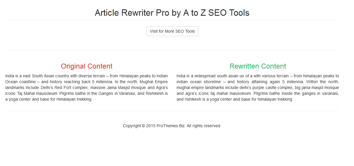 Article Rewriter Pro HTML Output